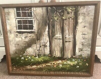Framed Vintage Oil Painting On Canvas. Rustic Country Cottage. Signed.
