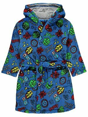 Boys Marvel Comics Superhero Dressing Gown Hooded Robe Blue 2-12 Years