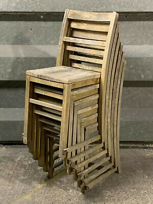 Set of six vintage wooden stacking school chairs early models rustic for refurb