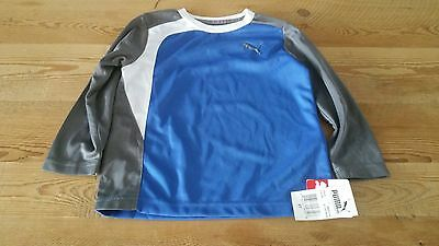 New Puma toddler boy 2T blue long sleeve athletic sport shell  shirt
