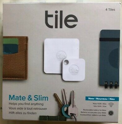 Tile  Bluetooth Tracker : Replaceable battery : Combo (Slim & Mate) - 4 Pack:
