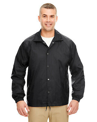 UltraClub Adult Coaches Jacket 100% Nylon Outer Shell 8944 Snap Front S-3XL