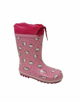 Childrens Girls Pink Hello Kitty Drawstring Wellies Rain Snow Boots Kids Size