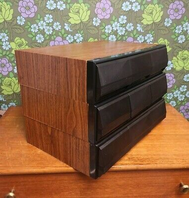 3X Vintage 3 Drawer Wood Effect  Audio Cassette Tape Storage Box Holds 108 Tapes
