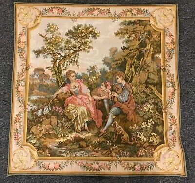 "Antique French Point De Loiselles Serenade Debut Tapestry  34x34"" J.b Huet RARE"
