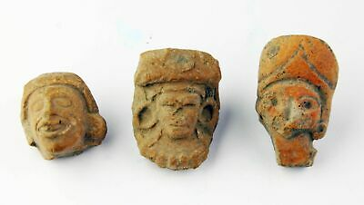 *Sc*Lot Of Three Pre-Columbian Mexico Pottery Heads / Fragments!