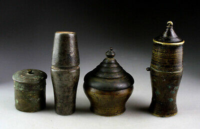 *SC*SET OF 4 KHMER BRONZE LIME JARS, POST-ANGKOR, 15th.-18th. cent!!