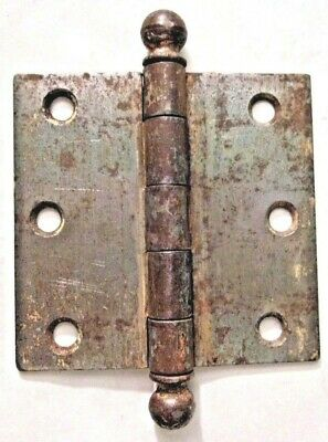 "Antique SW Stanley Sweetheart 3-1/2"" X 3-3/8"" Raw Steel Mortise Hinge Ball Tips"