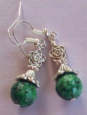 RUBY ZOISITE tibet ROSE drop earring SP fish hook handcrafted
