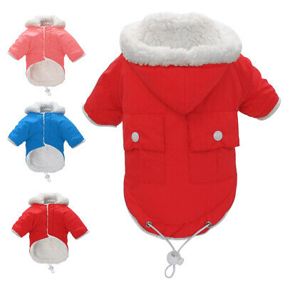 Waterproof Dog Winter Clothes Warm Dog Fleece Padded Hoodie Coat Puppy Jacket
