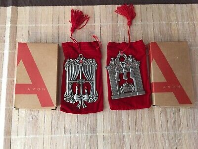 Avon Collectible 2008 2009 Pewter Christmas Ornament Lot Window Fireplace