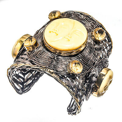 Carved Bone Face Yellow Citrine Cuff Bracelet 925 Silver Plated  Jewelry SzAdj.