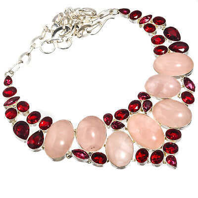 Rose Quartz Red Garnet Necklace 925 Sterling Silver Plated  Jewelry Sz16-18""