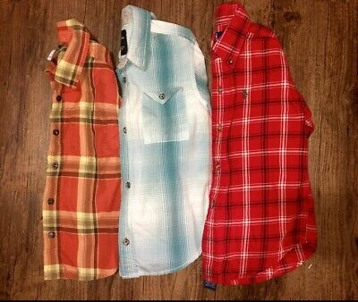 Toddler Boys 4 Shirts Long Sleeve Casual Dress Button Down Tops Fall Plaid Polo
