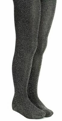 Children 50 denier black and silver lurex tights, sparkle, age 6 to 14 years