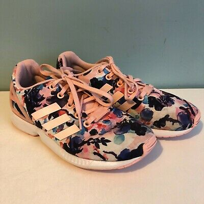 Girls Womens Pink Purple Floral Adidas ZX Flux Torsion Ortholite Trainers Size 3