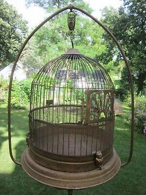 Antique vintage metal Birdcage with owl clips and cast iron stand