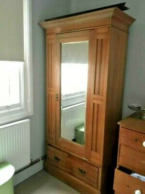 Art Nouveau Wardrobe, Mirror and Large drawer at Base, Antique, Oak