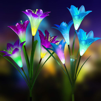 Solar Lights Outdoor, 2 Pack LED Solar Powered Flower Lights with 8 Lily Flower,