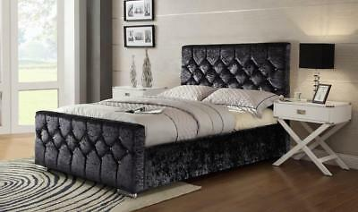 Chesterfield Crushed Velvet Bed Single Double Size Memory Mattress Free P&P