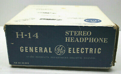 Steampunk Cool 1970s H-14 General Electric Decatur IL. Stereo Headphones+Orig Bx
