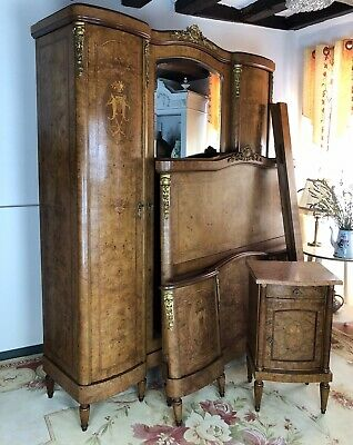 Antique French Empire Bedroom Suite Armoire Kingsize Bed Frame & Cabinet