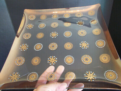 "11"" Mid Century Vintage Retro Gold Turquoise Atomic Star Burst Glass Plate Tray"