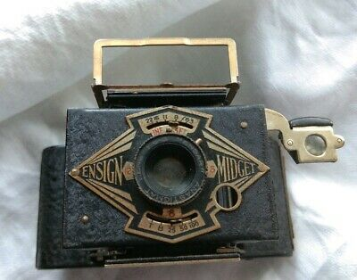 Vintage camera Ensign Midget miniature antique camera 1930's. Early photography.