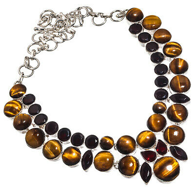 """Tiger Eye Red Garnet Necklace 925 Sterling Silver Plated  Jewelry Sz16-18"""""""