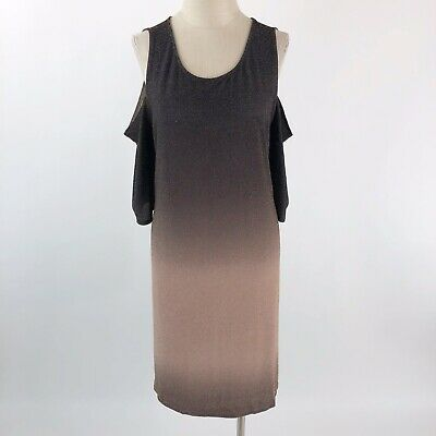 VENUS Womens Size 1X Cold Shoulder Glitter Dress Shift Ombre Charcoal Beige