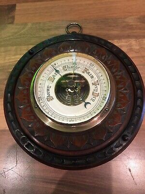 Antique Carved Wood Brass Ships Aneroid Barometer Maritime Marine Nautical Boat
