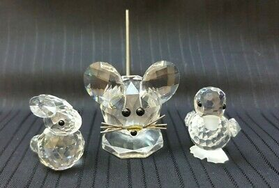 3 Swarovski Crystal Animals,Larger Mouse/Duck And A Rabbit,Collectable Crystal,
