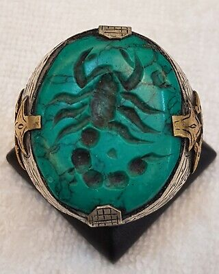 Huge Old Silver Unique Ring With Wonderful Turquoise Stone Scorpion Intaglio