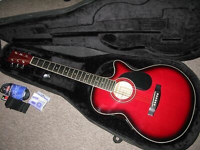 Tanglewood TF2CRED electro-acoustic guitar in Trans Cherry w/ case / PERFECT