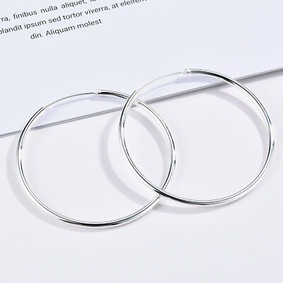 Silver Polished Round Circle Big Large Hoop Earrings Womens Wedding Jewelry