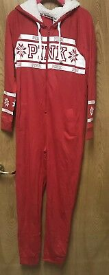 Victorias Secret PINK Red White Snowflake Sherpa Hooded One Piece Pajama XS