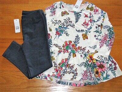 NWT Baby Gap Girl's Long Sleeve Flower Top/Leggings Outfit Size 4T/4Yr