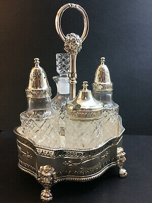 Victorian Era 4 Bottle Condiment Set in Silver-plated Holder Reproduction