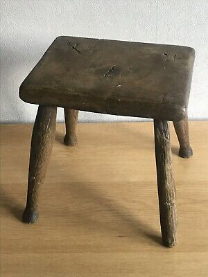 Antique Solid Wood Repaired Leg Small Stool