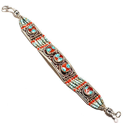"""Tibetan Turquoise Red Coral Bracelet 925 Sterling Silver Plated Jewelry Sz7-8"""""""