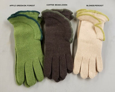 Portolano 100% CASHMERE Gloves Assorted Colors Solid w/Ruffle Italy OS Reg $90.