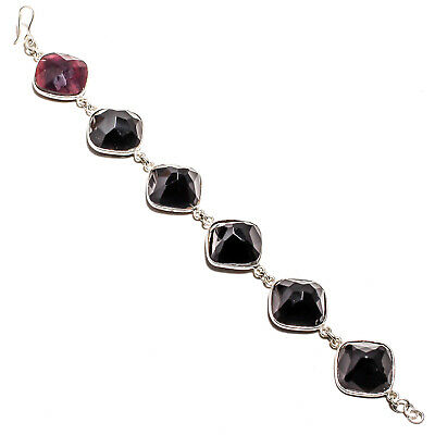 """Faceted Black Onyx Bracelet 925 Sterling Silver Plated Handmade Jewelry Sz7-8"""""""