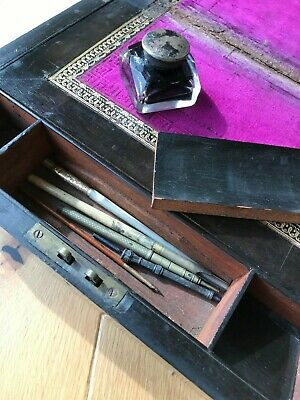 Lovely Victorian Writing Slope with Glass Ink Bottle and 5 Vintage Pens