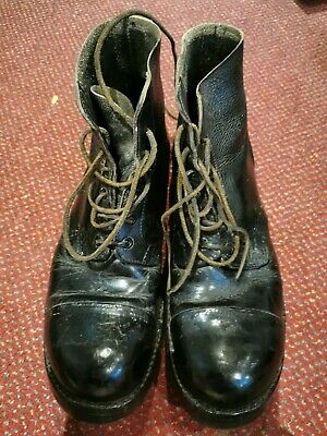 Vintage Antique Black Leather Military Style Hob Nail Drill Boots Uk Size 9 M