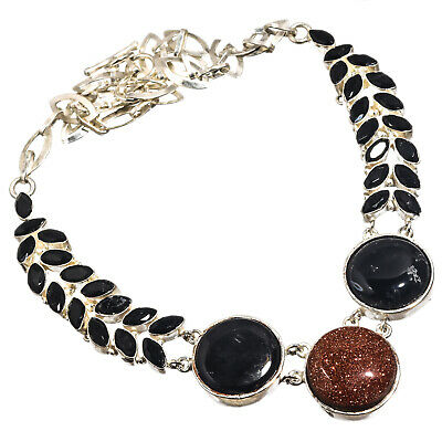 """Red Sunstone Black Onyx Necklace 925 Sterling Silver Plated Jewelry Sz16-18"""""""