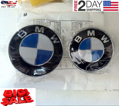 NEW BMW Car Emblem Chrome Front & Rear Badge Logo 82mm 74mm For BMW Hood/Trunk
