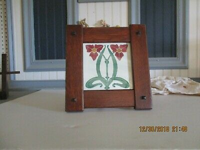"""Arts & Crafts 6"""" X 6"""" Tile Frame Handcrafted Mission Style Quartersawn White Oak"""