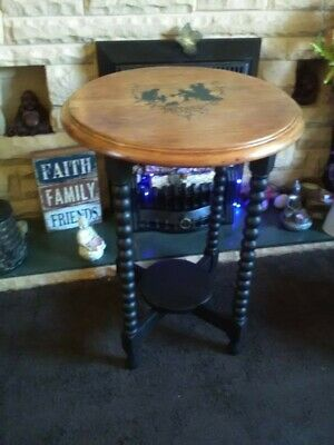 Upcycled Hand Painted wooden antique bobbin occasional  table