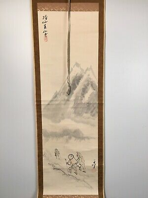 HANGING SCROLL JAPANESE CHINESE PAINTING Hiking Up Mountains ANTIQUE ORIGINAL