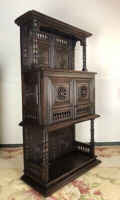 Antique French Breton Small Carved Buffet Circa 18th Century